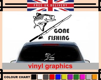 cccd2b38d4 Gone fishing wallart   car   van decal sticker graphic