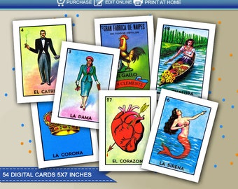 photograph relating to Free Printable Loteria Cards named Loteria card Etsy
