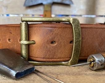 "Mens Leather Belt, English Made, Hand Made, Bespoke.  1 1/2"" Burnt Tan Antique Brass Roller Buckle"