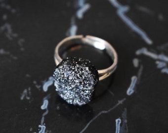Gold druzy black adjustable ring  cocktail ring  boho ring  bohemian jewelry  faux druzy ring  sparkle jewelry  gold druzy ring