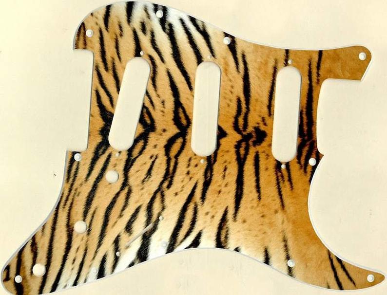 Custom Graphical Pickguard to fit Fender Strat Stratocaster Tiger Print