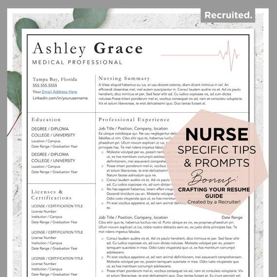 Nurse Resume Template Nursing Resume Cv Template Medical Etsy