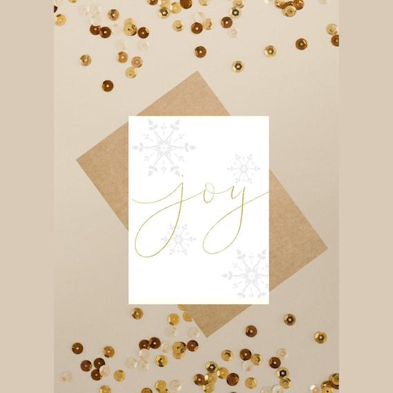 Joy Christmas Card Printable Christmas Cards Gold Printable Etsy