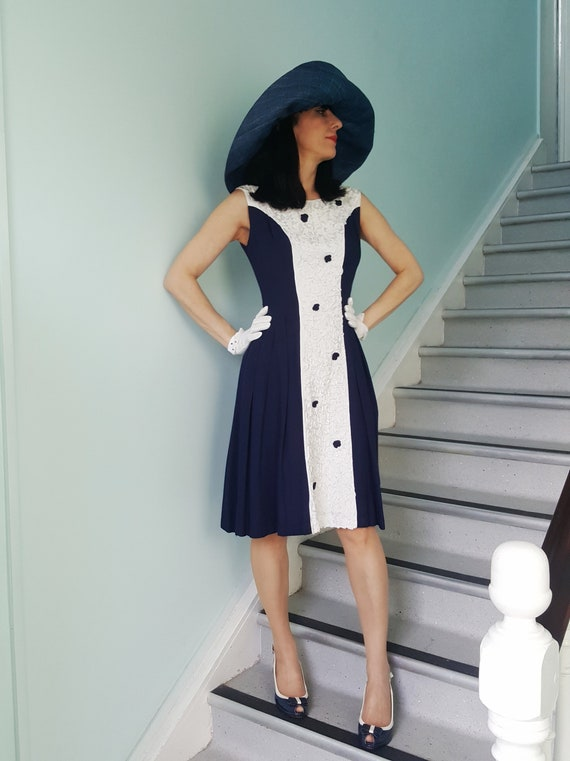 Vintage late 1950s/early 1960s navy & white dress