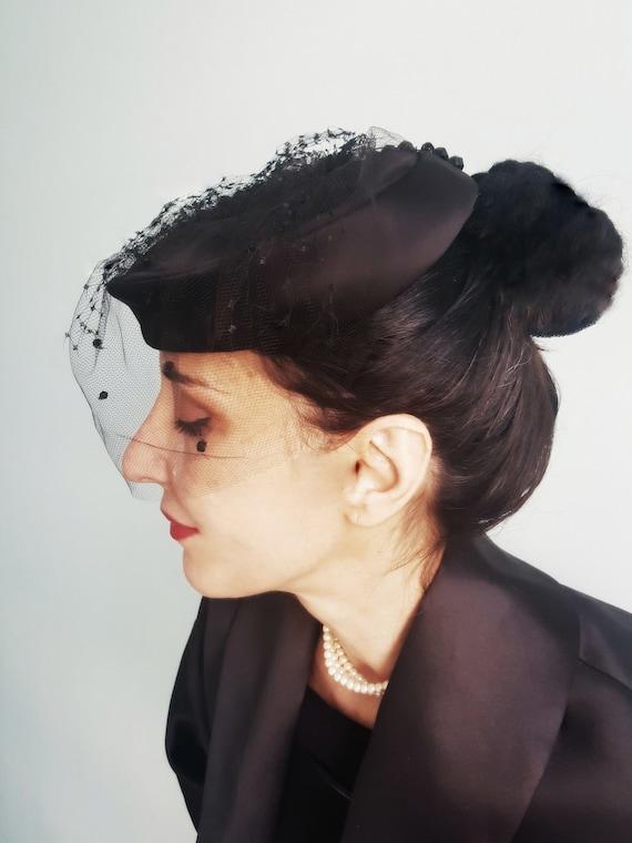 Elsa Schiaparelli satin & net veil 1940s hat - image 4