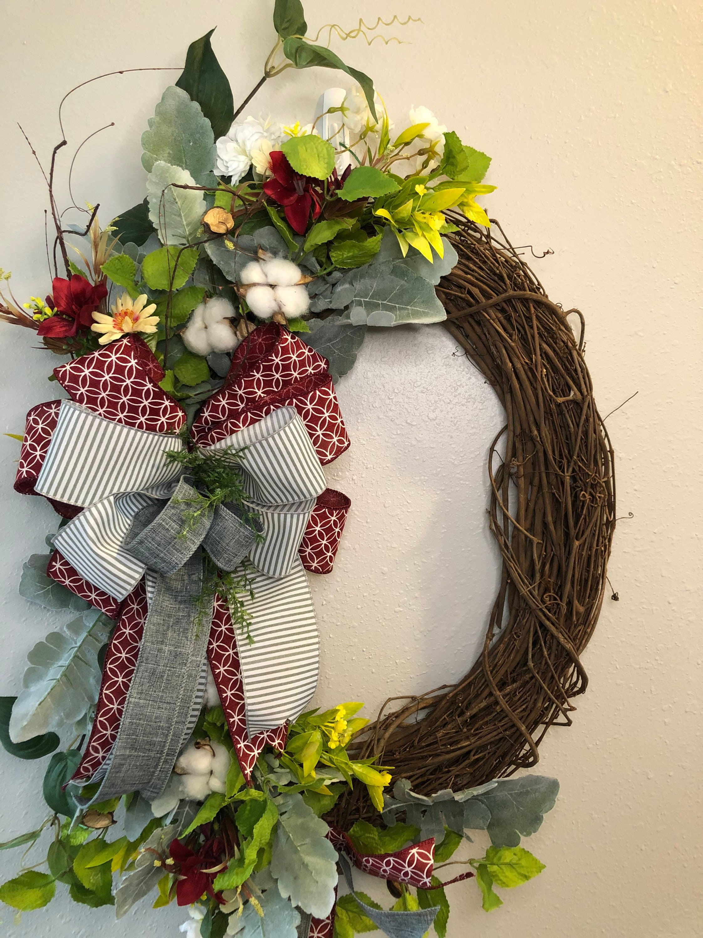 Everyday Cotton Farmhouse Wreath Front Door Wreath Cotton Etsy