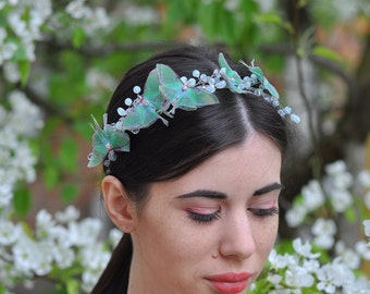 Luna moth butterfly hair piece moonstone crystals and gold wire headband