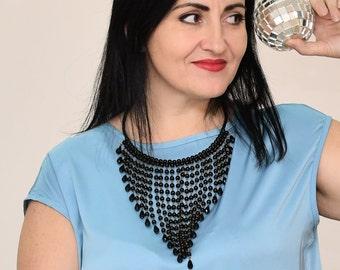 Black bib necklace, Beaded necklace, Boho necklace, Vintage necklace, Black Choker necklace, Cascading necklace, Statement necklace