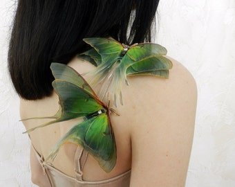 Silk luna moth extra large lapel pin brooch 3d three-layered wings - faux butterfly hair accessories for women and girl