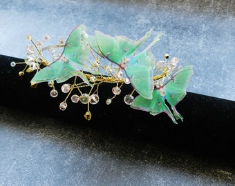 Luna moth butterfly hair piece accessories - Silk butterfly crystals and gold wire headband