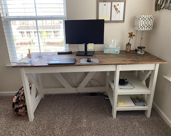X-Beams Farmhouse Desk - LOCAL PICKUP for the Raleigh NC area. This item is not shipped.