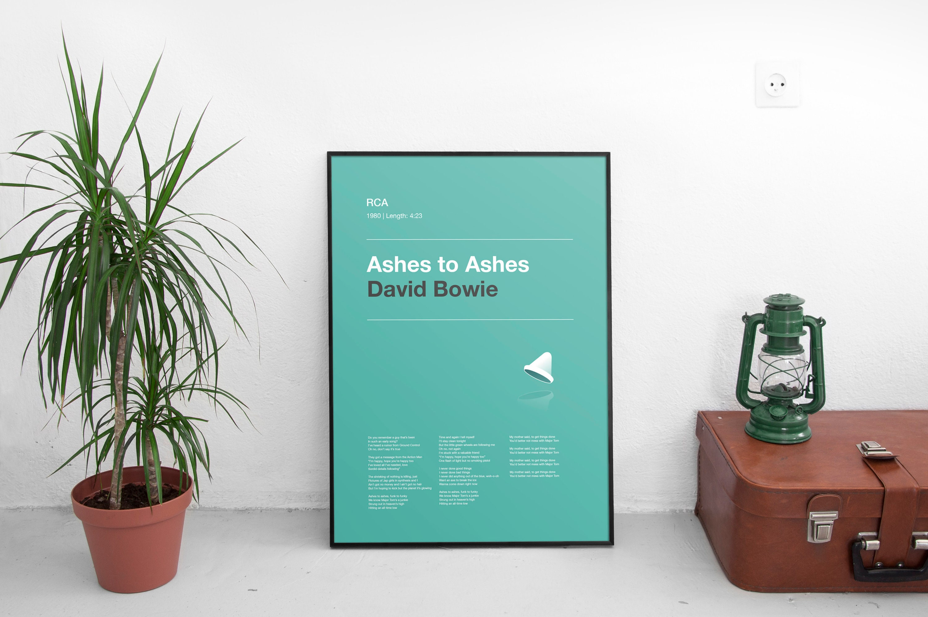 Ashes to Ashes, David Bowie, Song Lyric Poster