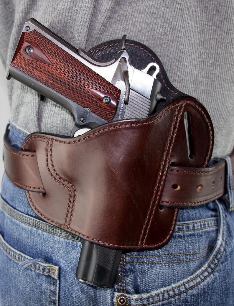 The Ultimate Leather Gun Holster3 Slot Pancake Style Belt HolsterHandmade