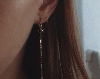 dainty stud earrings cz studs threader gold studs double studs chain earrings minimal gold earrings Emerald green BAGUETTE earrings