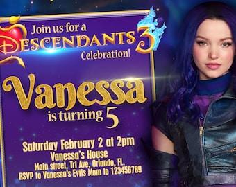 Descendants 3 Invitation Birthday Party Disney Channel | Etsy