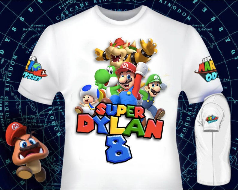 Mario T-shirt Design for Birthday Party - Digital File Fast Service 4 hours  or less - Super Mario Party JPG File Printable Iron on transfer