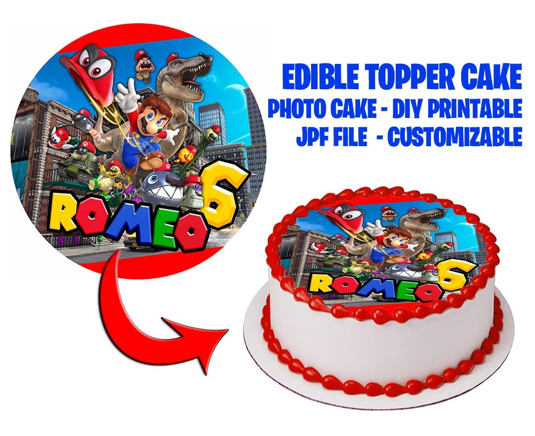 Mario Topper Cake CUSTOMIZABLE for party! Fast service 4 hours or less   Mario Odyssey Party Cake  Bakery Digital file