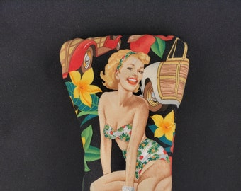 Limited Edition: Tropical Pin-up Mitt Style Headcover - Cotton with Canvas Underlay & Black Canvas Back