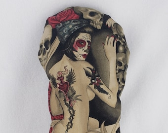 Limited Edition: Day of the Dead Pin-up Mitt Style Headcover - Cotton with Canvas Underlay & Brown Leather Back