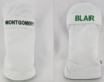 Personalized Masters Caddy Jumpsuit Inspired Headcovers - Mitt or Cylinder  - YourGolfHeadcovers.com