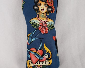 Limited Edition: Tattoo Mitt Style Fairway Headcover - Cotton with Canvas Underlay & Black Canvas Back
