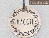 Custom Boho Pet ID Tag for Dogs Cat, Engraved Floral Wreath Pet Tag, Stamped Pet ID, Personalized Pet Accessory and Pet Jewelry, HappyPaws