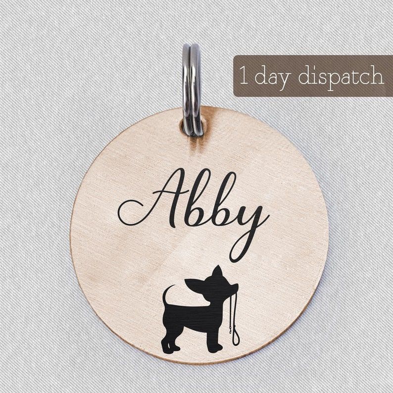 Engraved Abby Dog Collar Tag Ideal Pet Jewelry Cat Collar ID Tag Small Pet Name Tag Cute Custom Pet ID Tag HappyPaws