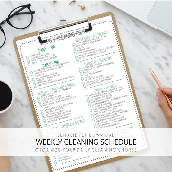 Weekly Cleaning Checklist Daily Cleaning List Home Cleaning Template Daily Cleaning Schedule Planner ǀ Editable Pdf ǀ Instant Download
