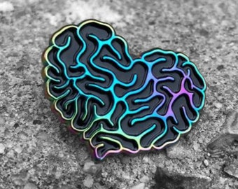 Rainbow Heart Brain Enamel Pin