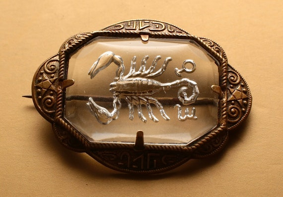 Egyptian Revival Art Deco Scorpion Brooch