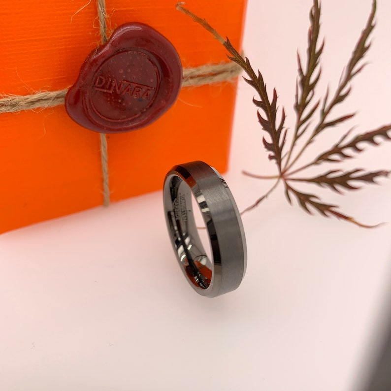 6mm Tungsten Band Promise Ring Gunmetal Tungsten Ring Tungsten Ring Womens Tungsten Ring Custom Engraving Mens Tungsten Wedding Ring