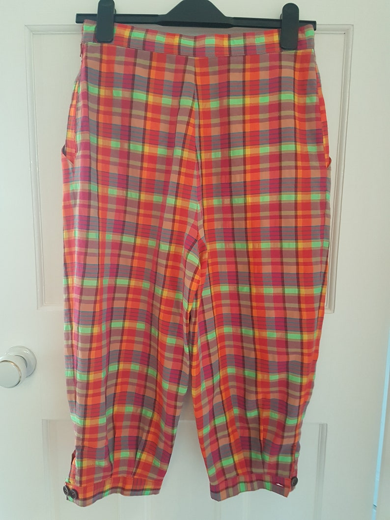 Vintage Galleria Multi Check Rainbow Baggy Puff Leg Pedal Pushers Size 10