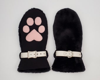 Genuine Leather Fist Mitts with Animal Pads and Wristcuffs Pet Play Cosplay BD