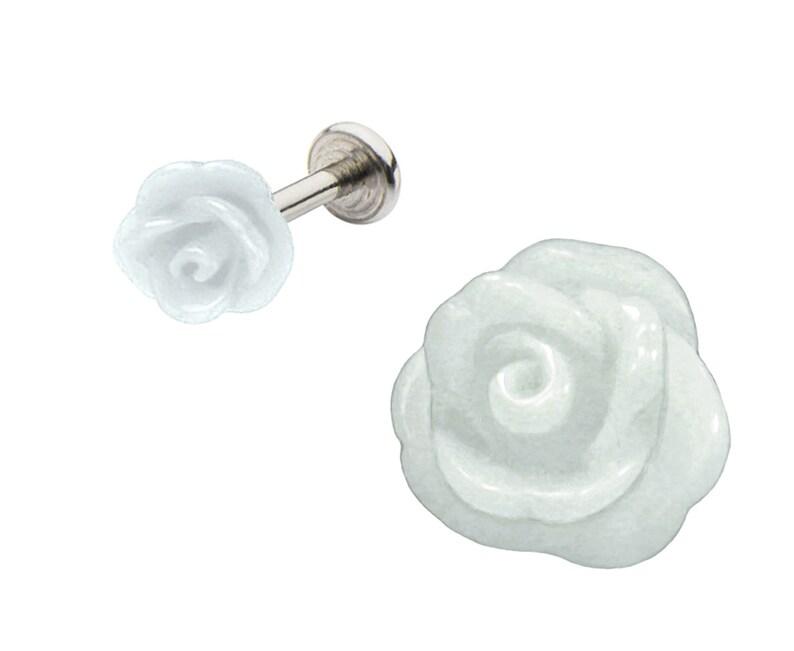 Red Black Pink White Rose 3d Flower Labret Monroe lip tragus Ear piercing Flexible Bioplastic or Surgical Steel Ring 16g or 14g Aqua