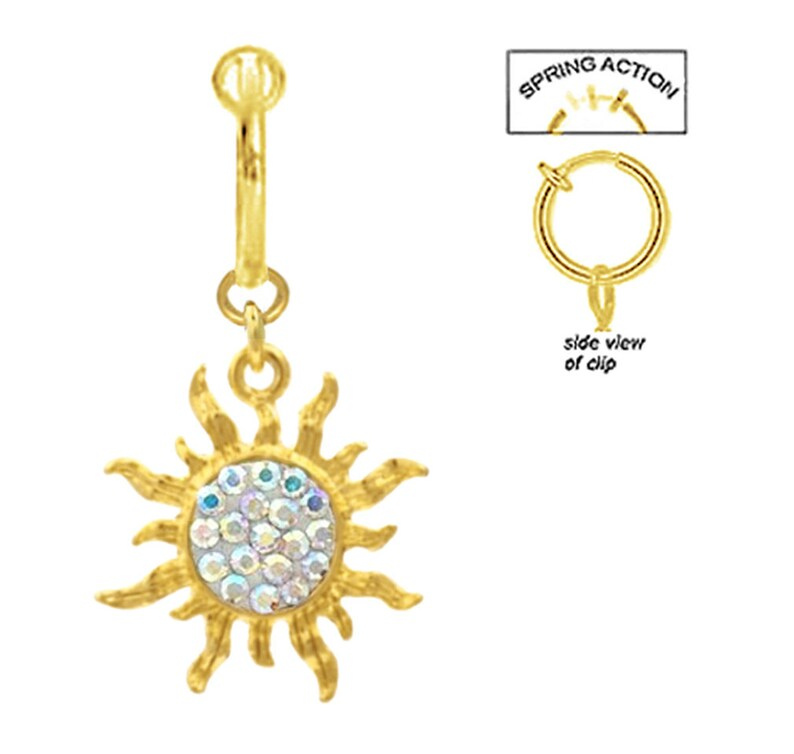 Sparkling Ab Aurora Gold Sun Celestial Sunburst Dangle Fake Belly Navel Ring both style Clip on non No Piercing needed Enjoy look no pain!