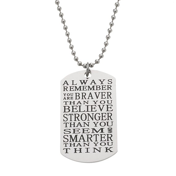 Men's Women's Inspirational Necklace - You are Braver Than You Believe, Mantra Inspirational Necklaces, Gifts for Son from Mom & Dad
