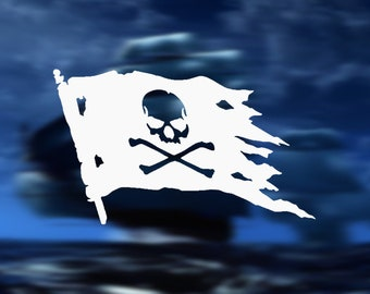 Qypf 15 8cm 9 3cm Jolly Roger Pirate Flag Fashion Vinyl Car Window Sticker Decal Black Silver C15 0451 Car Stickers Aliexpress