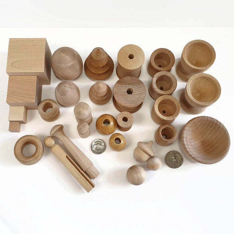 FREE SHIPPING! ULTIMATE Montessori set Loose part wooden pieces Montessori learning toys