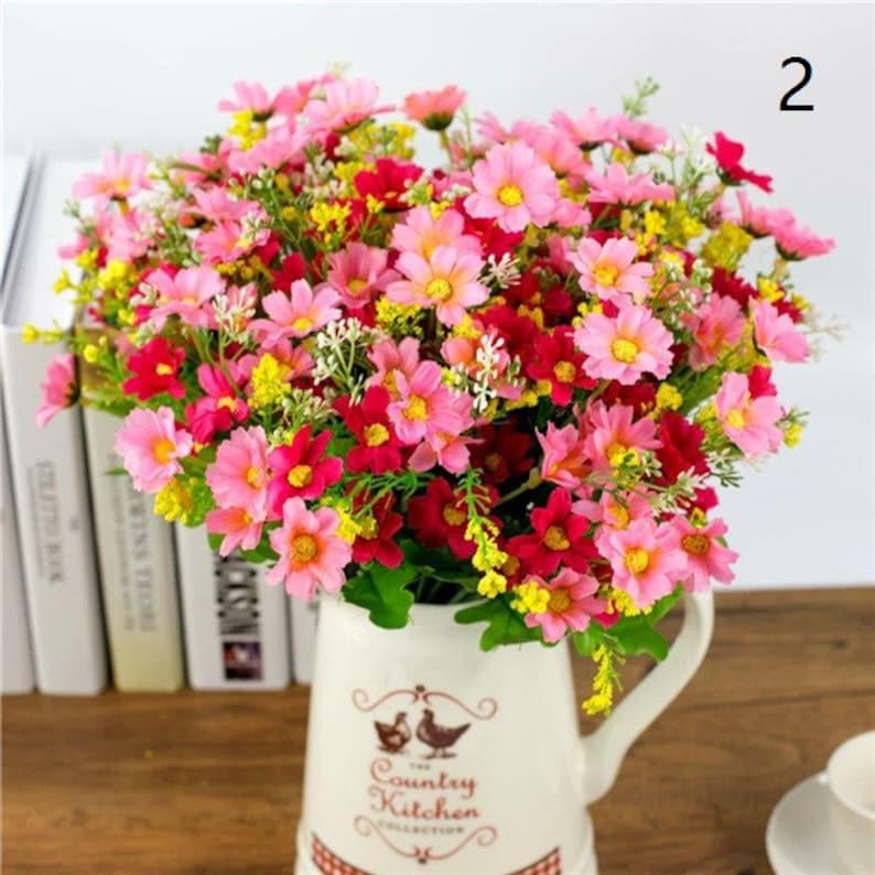 1 set 28 Heads Artificial Bunch Fake Silk Daisy Flower Hydrangea Wedding Party Bouquet Bridal Valentine/'s day Home Decor Floral