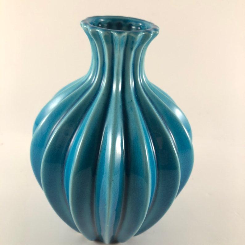 Gorgeous Vintage Vase Turquoise Blue Mid Century Modern Art Deco