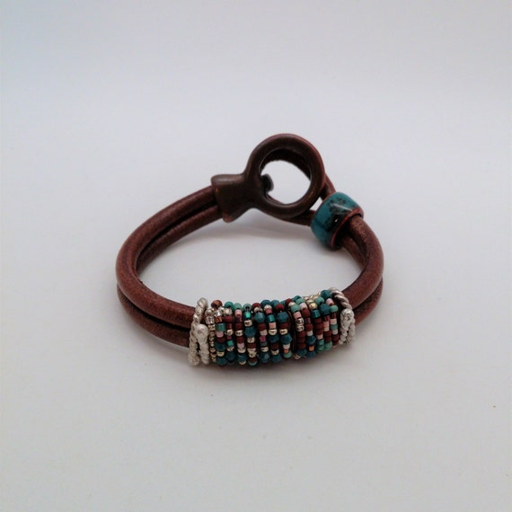 Double Cord Leather Cuff