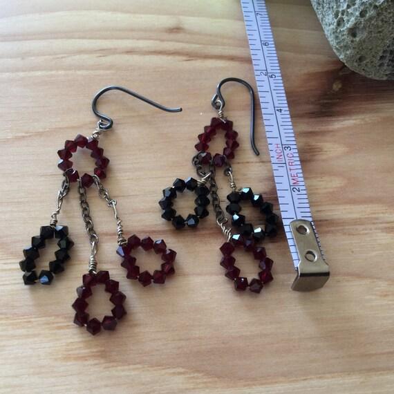 Black/red Swarovski crystal earrings