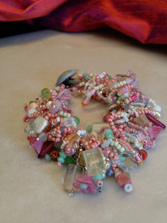 Pastel Beaded Soutache Bracelet Pearl Button Fastener