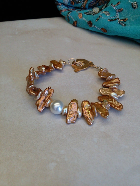 Pearl Bracelet Keshi Oblong Pearls Pretty Golden Jewelry