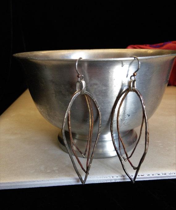 Copper Brass Bronze Hoops Hammered Metal Earrings OOAK Beauty