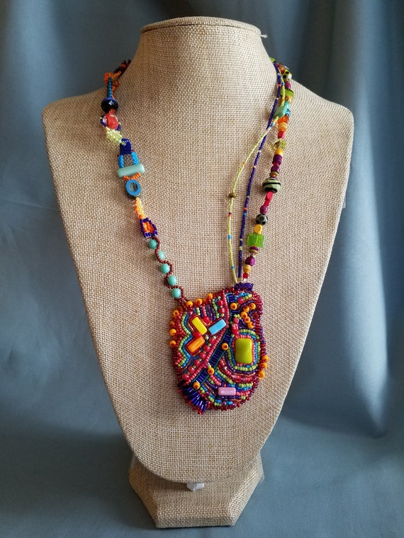 Colorful Fiesta Necklace Handmade Beaded Jewelry