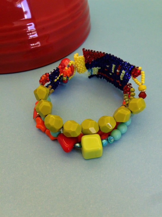 Colorful 3-Strand Fiesta Bracelet Handmade Beaded Jewelry