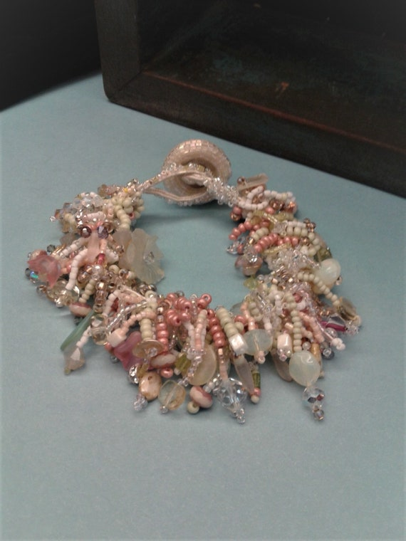 Pretty Pastel Pearls Crystal Soutache Bracelet Vintage Button