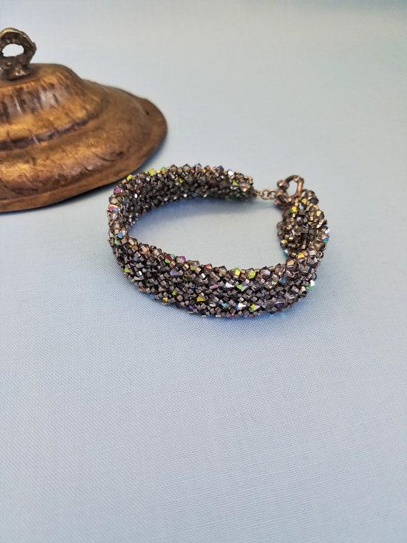 "Sparkly Swavorski Crystals Beaded Bracelet 7.5"""