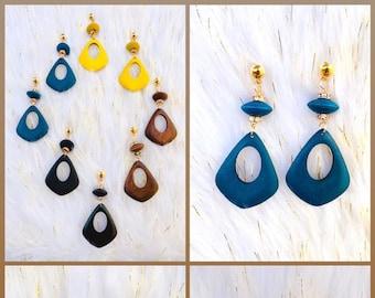 Teardrop Wooden Handpainted Earrings with crytals embellishments TEAL YELLOW BROWN BlACK, Boho Hippie Modern Earrings, Wood Dangle